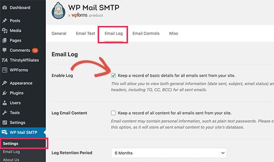 WP Mail SMTP日志开启