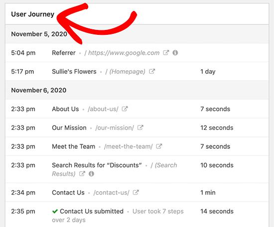 用户访问足迹记录