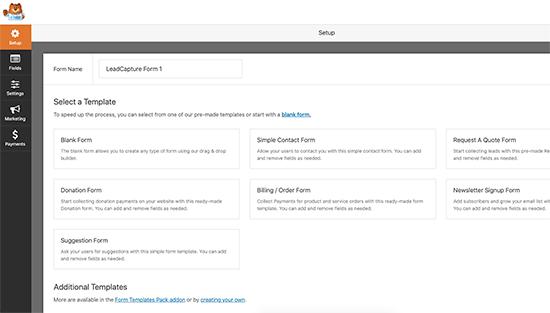 WPForms插件表单创建