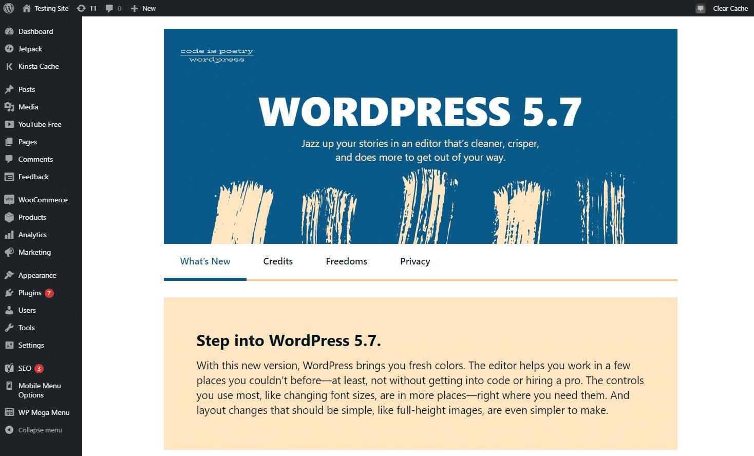 "WordPress 5.7的""新功能""页面"