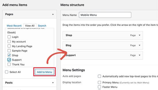 WordPress菜单项目添加