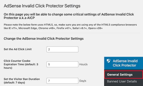 AdSense Invalid Click Protector 插件设置