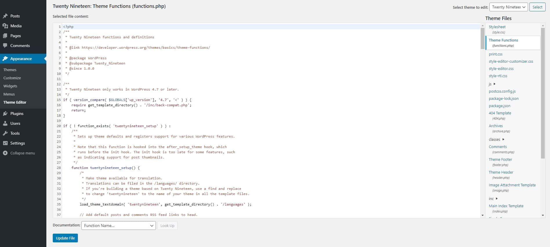 主题编辑器编辑functions.php
