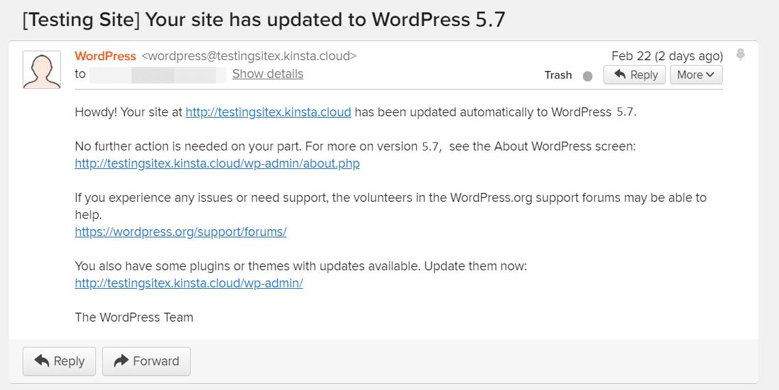 WordPress版本更新提示邮件