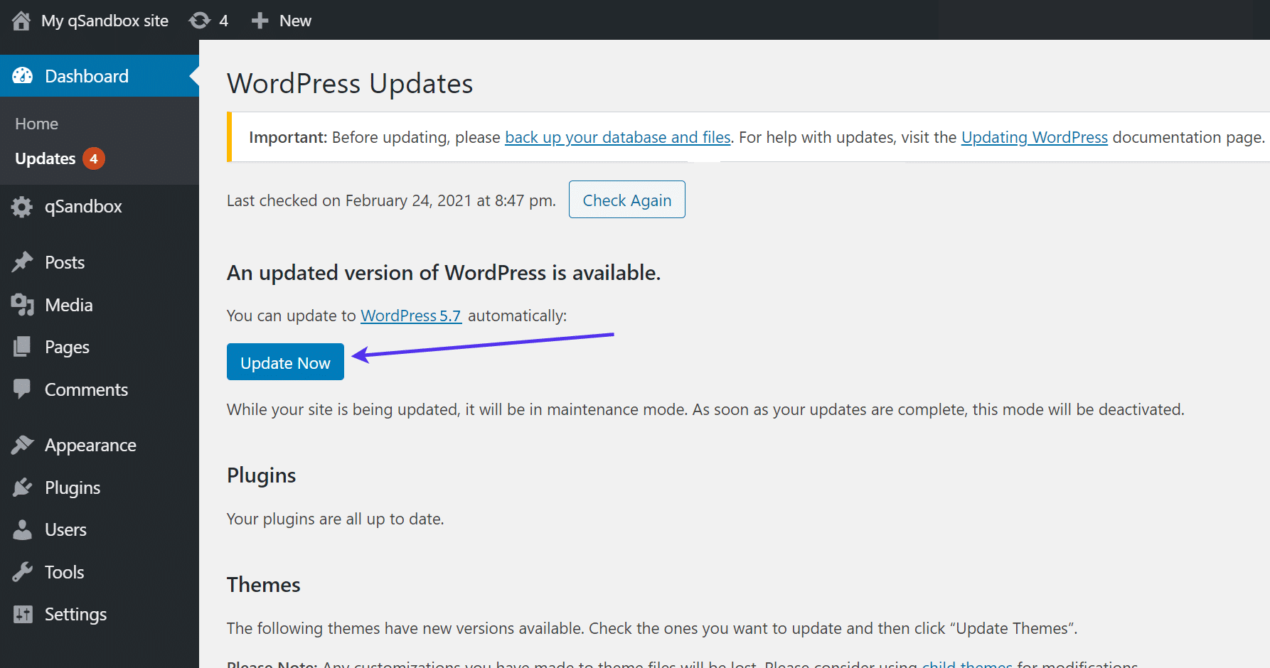 "WordPress""立即更新""按钮"