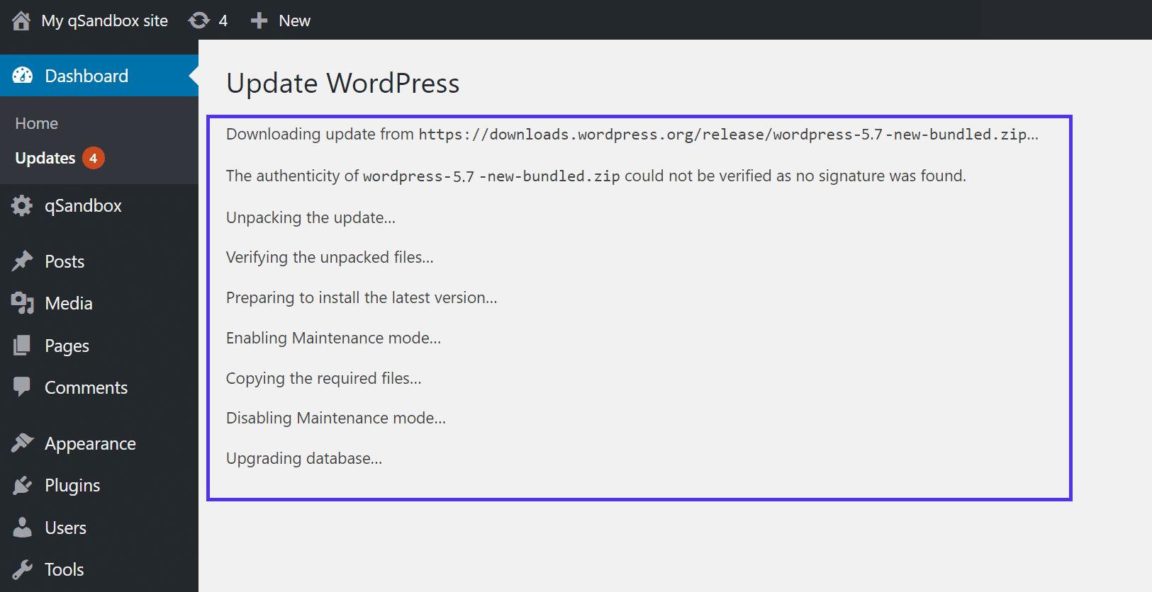 WordPress更新期间显示的信息