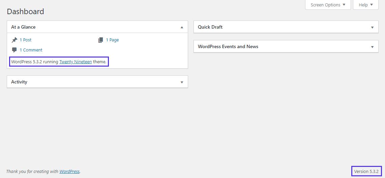 WordPress仪表盘上的版本号