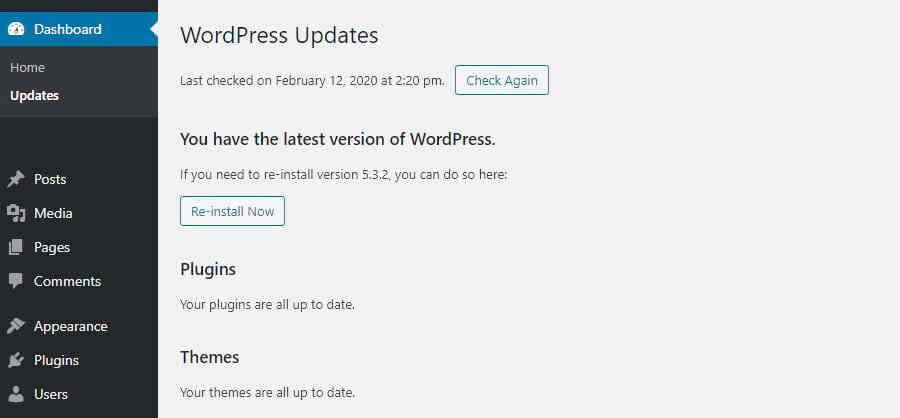 WordPress更新界面