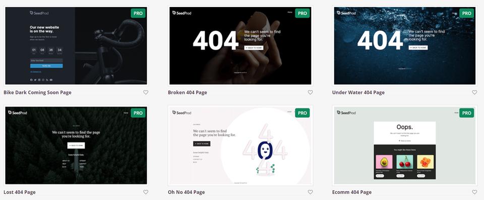SeedProd 404错误页面模板