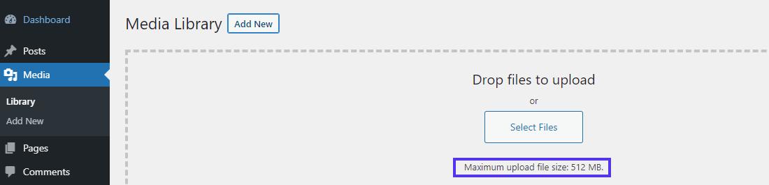 """验证""""媒体库""""中新的最大上传文件大小"""