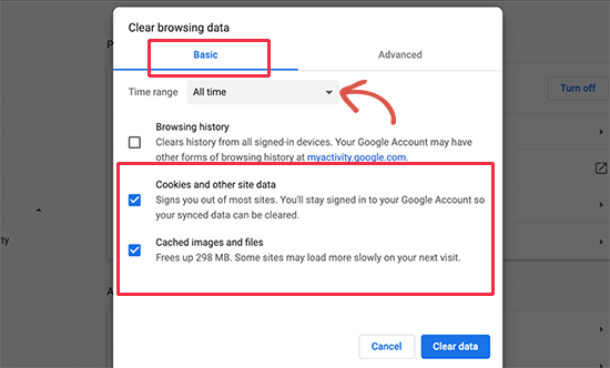 chrome浏览器cookies和缓存清理