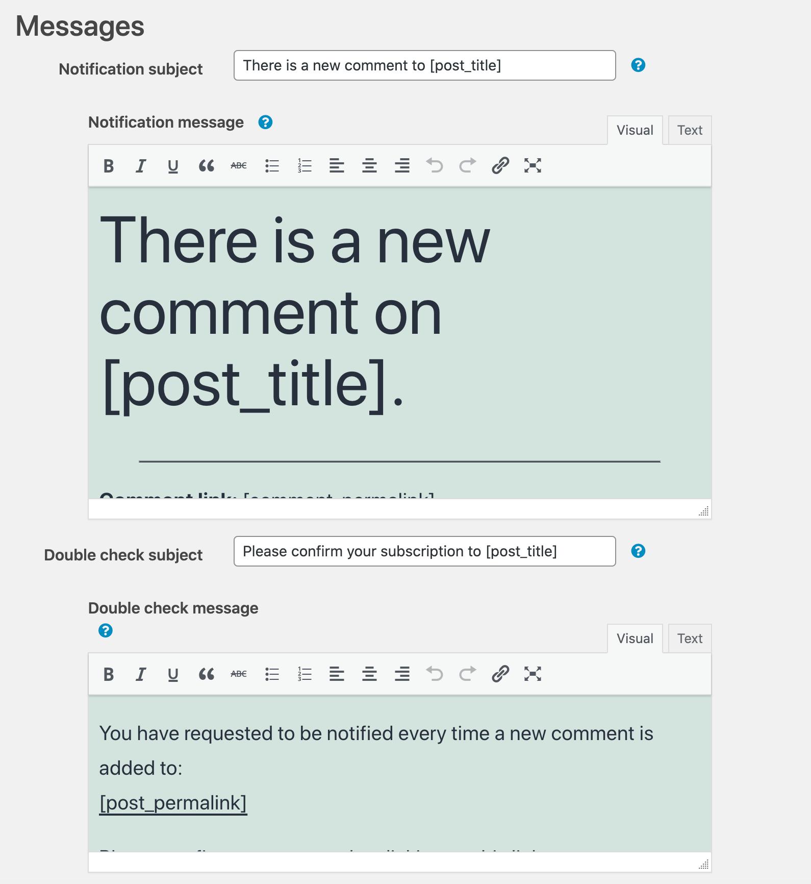 WordPress文章评论通知设置