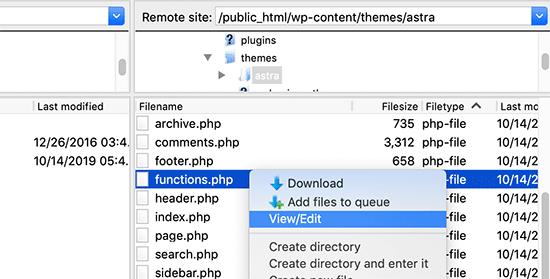 编辑主题function文件