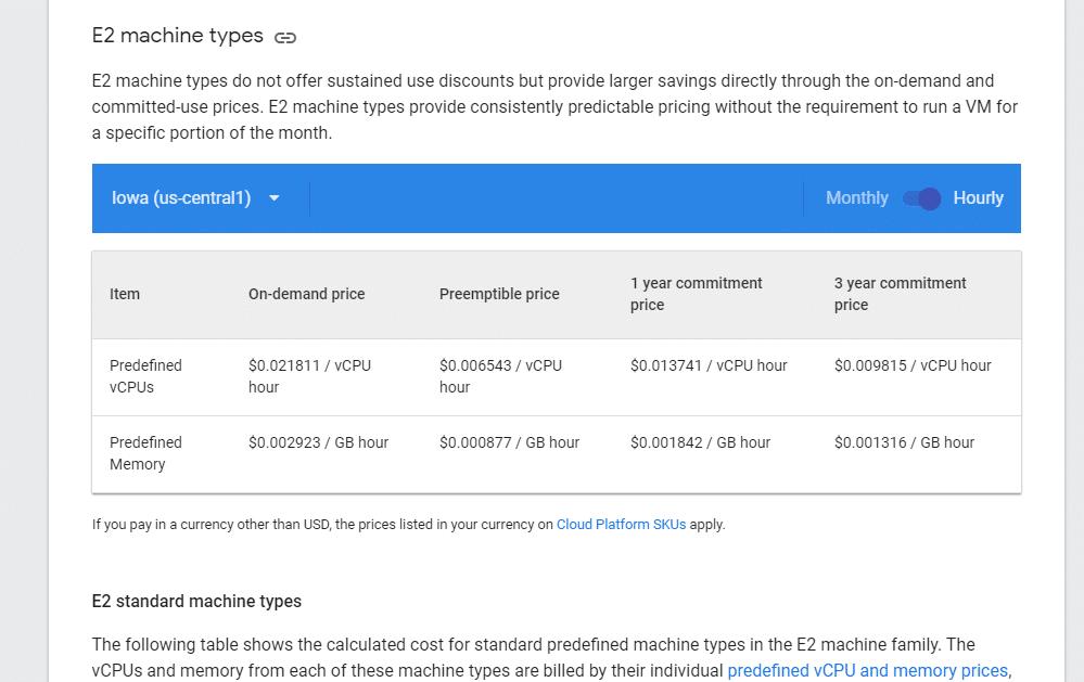 Google Cloud Engine 定价