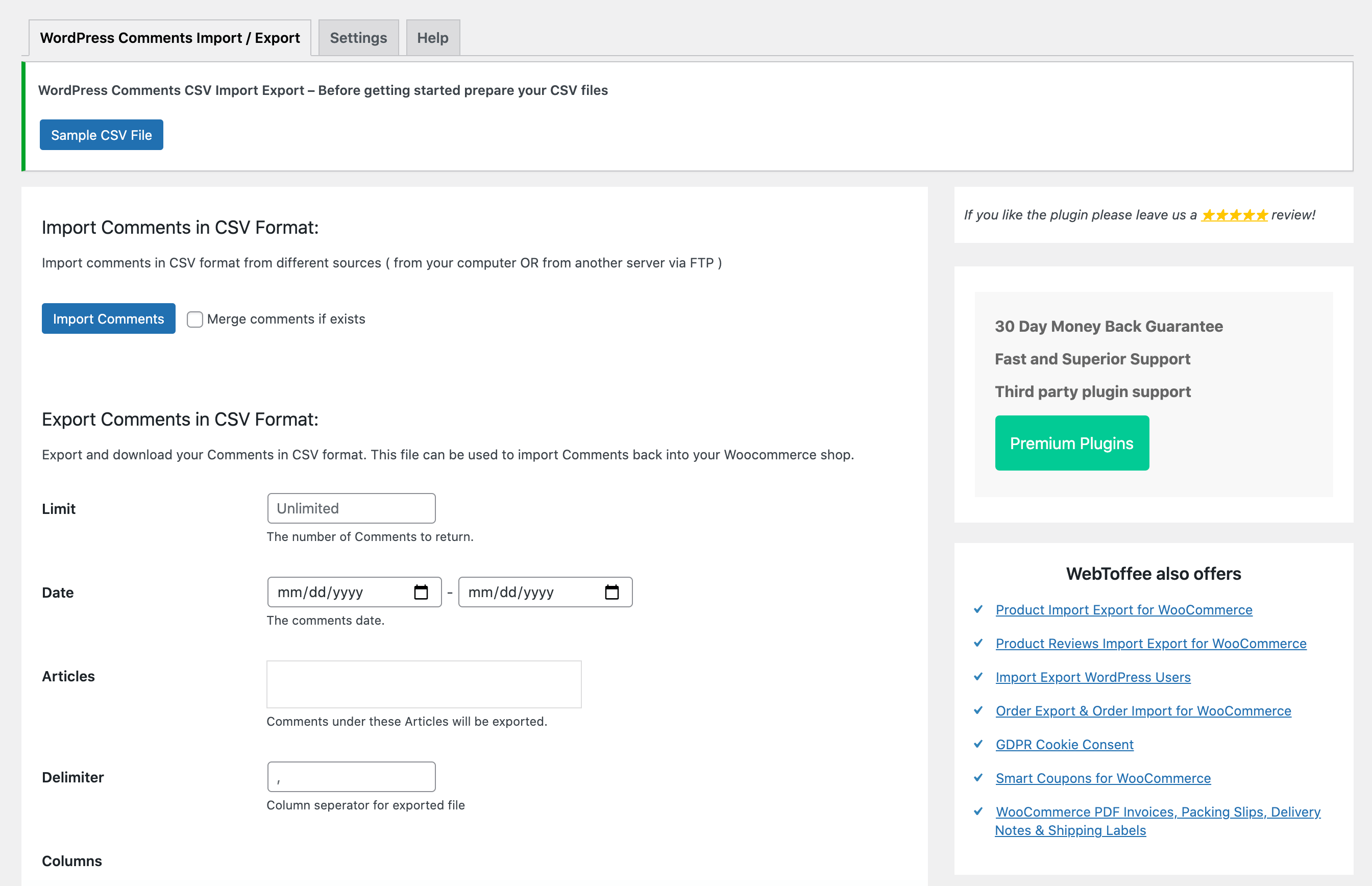 WordPress评论导入导出