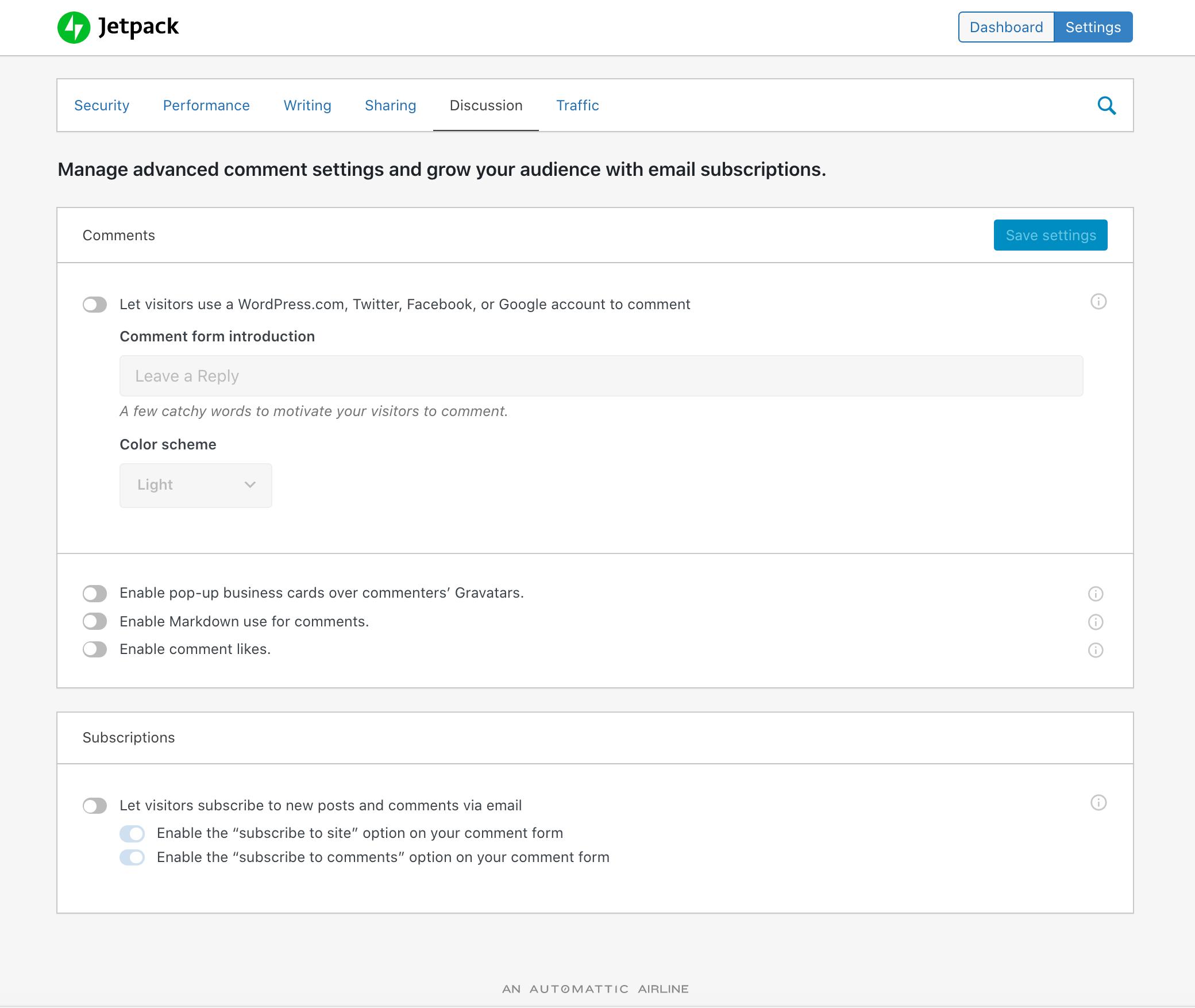 jetpack插件评论设置