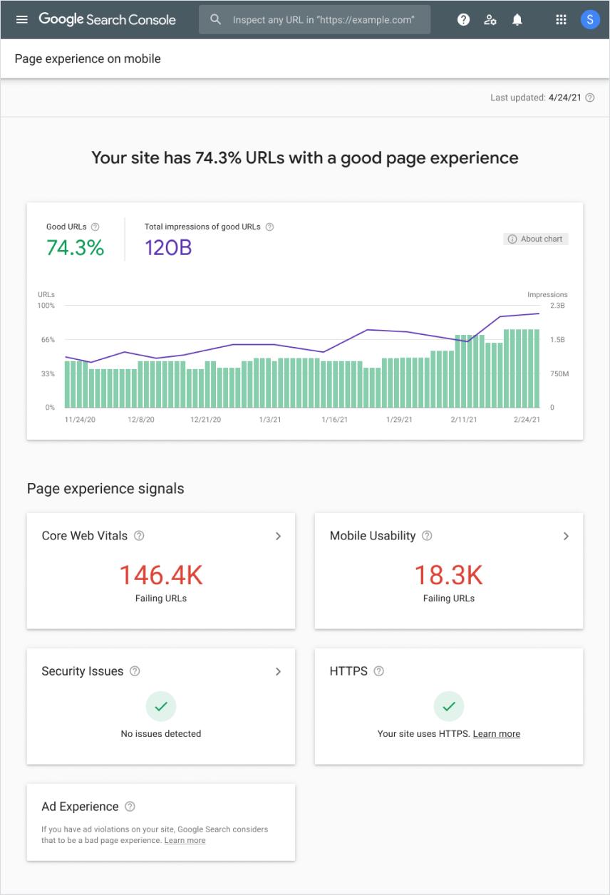 谷歌页面体验报告
