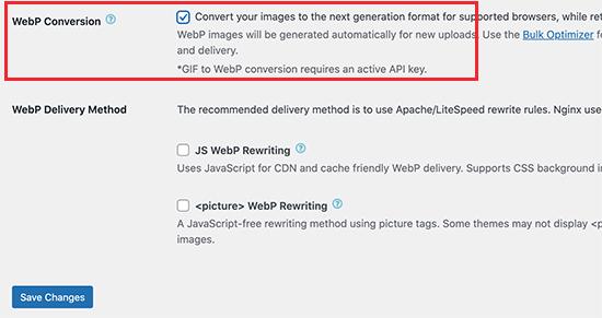 EWWW Optimizer插件WebP转换选项