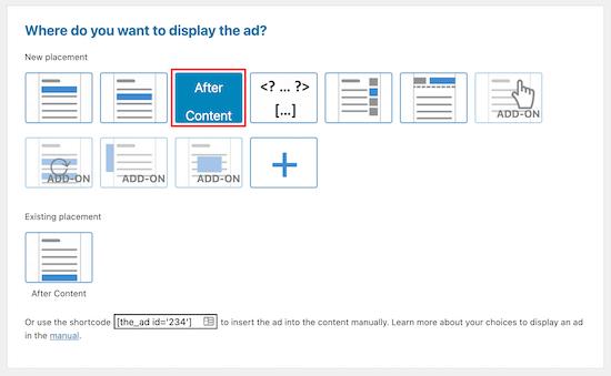 WP Advanced Ads插件广告位置设置