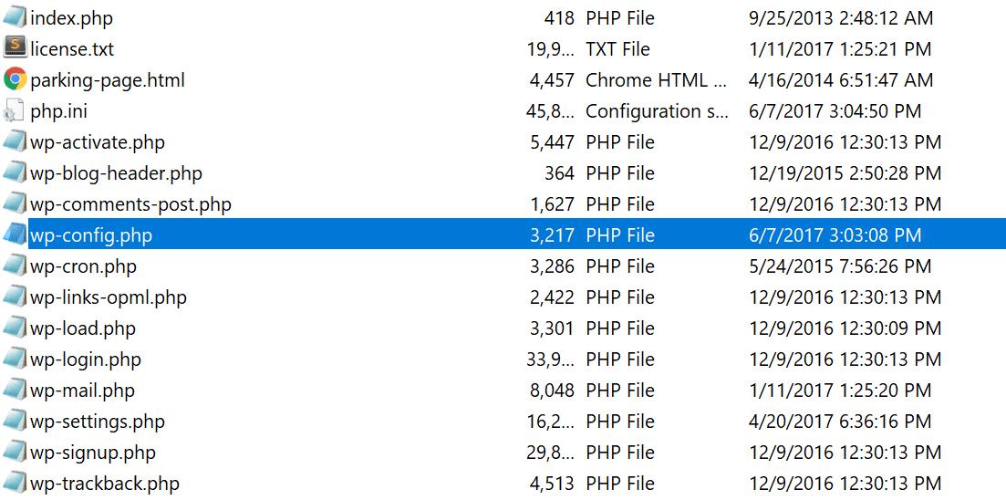 查找wp-config.php文件