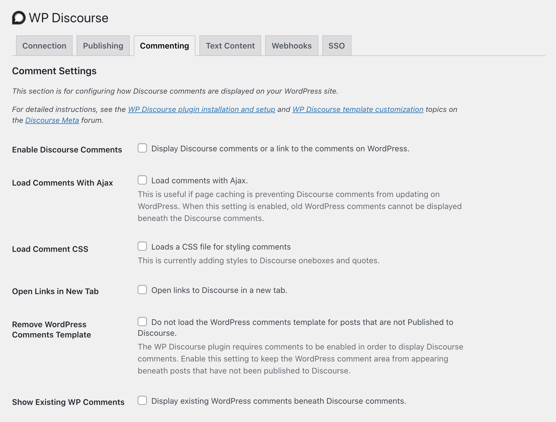 WP Discourse插件设置