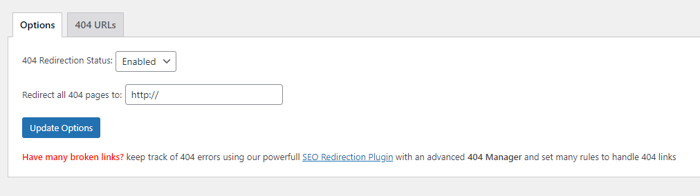 All 404 Redirect to Homepage插件设置