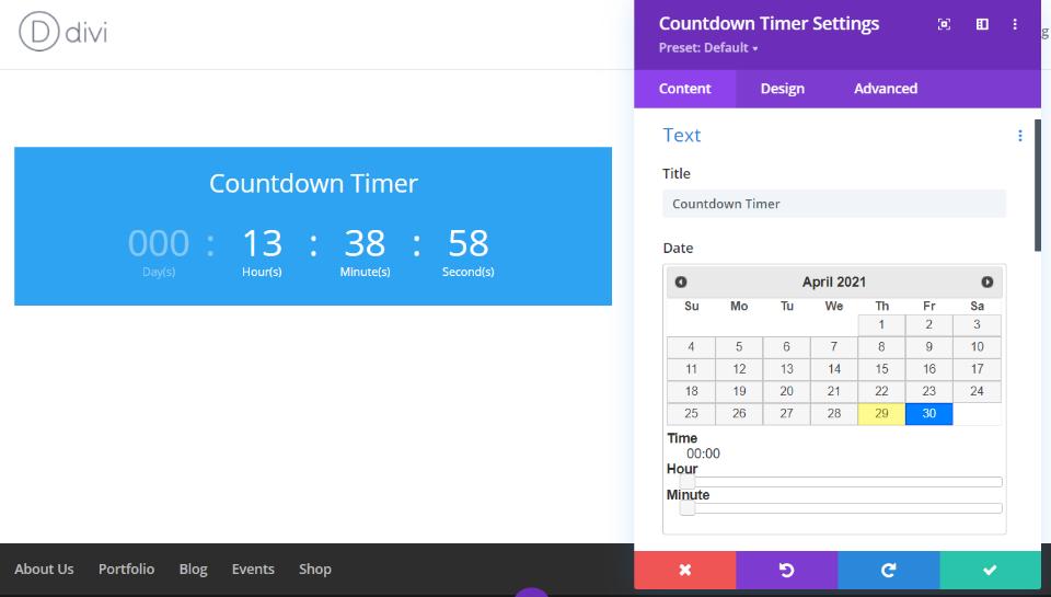 Divi Countdown Timer Module设置