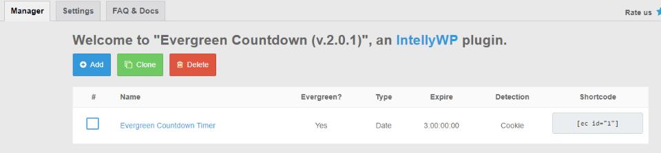 Evergreen Countdown Timer插件短代码
