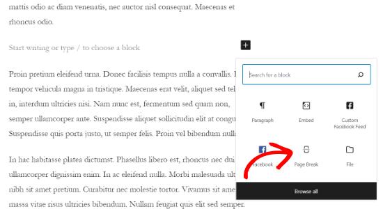 添加分页符区块