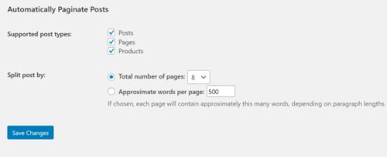 automatically-paginate-posts插件设置