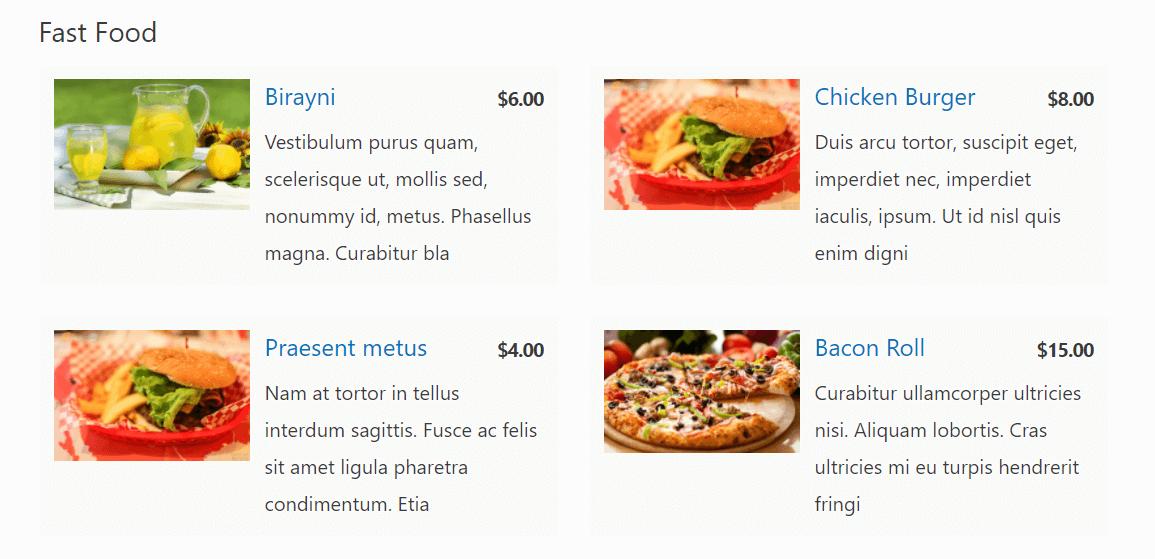 food-menu餐厅菜单示例
