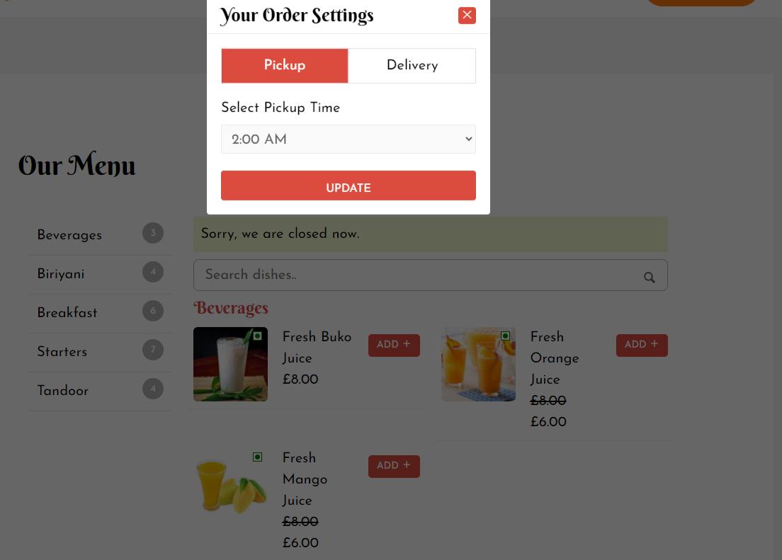 food-store餐厅菜单示例