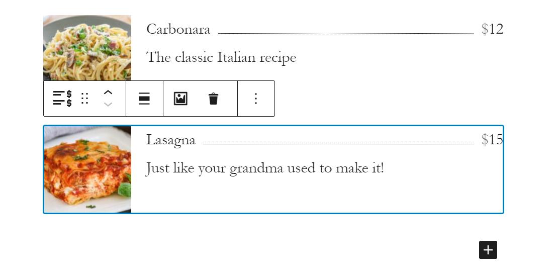 getwid餐厅菜单清单
