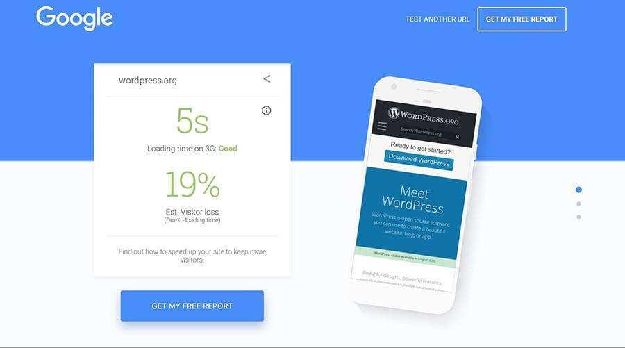 谷歌网站移动端加载速度测试评分结果