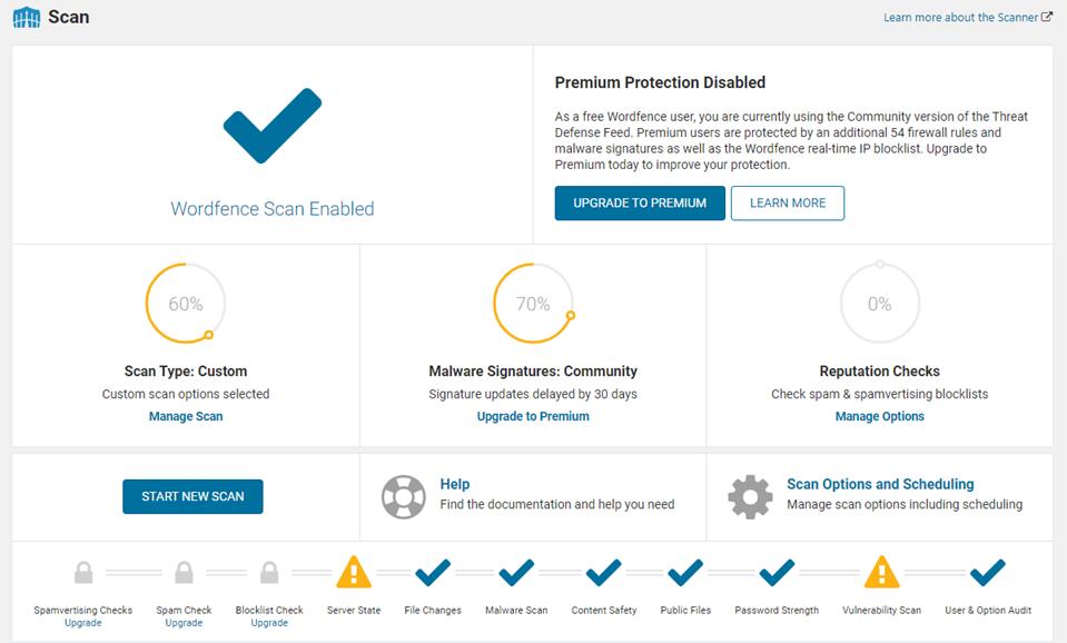 Wordfence插件网站安全扫描