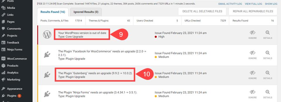 WordFence插件安全更新提醒