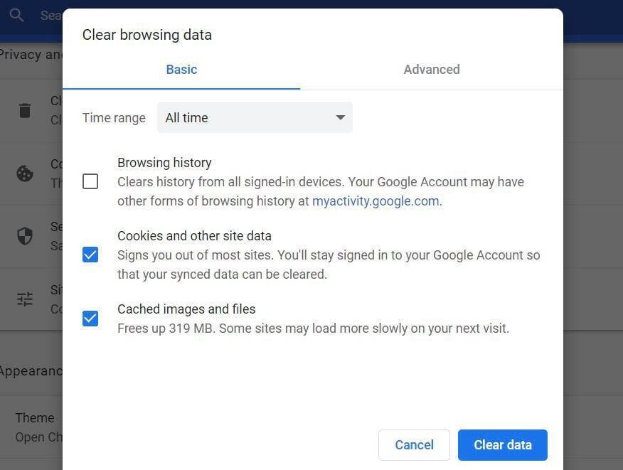 Chrome浏览器缓存及Cookies清除