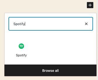 搜索Spotify嵌入区块