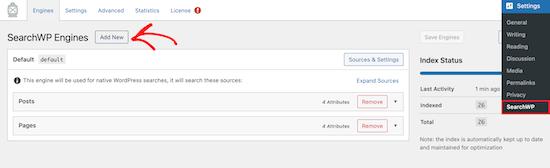 新建SearchWP引擎