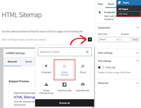 Simple Sitemap区块