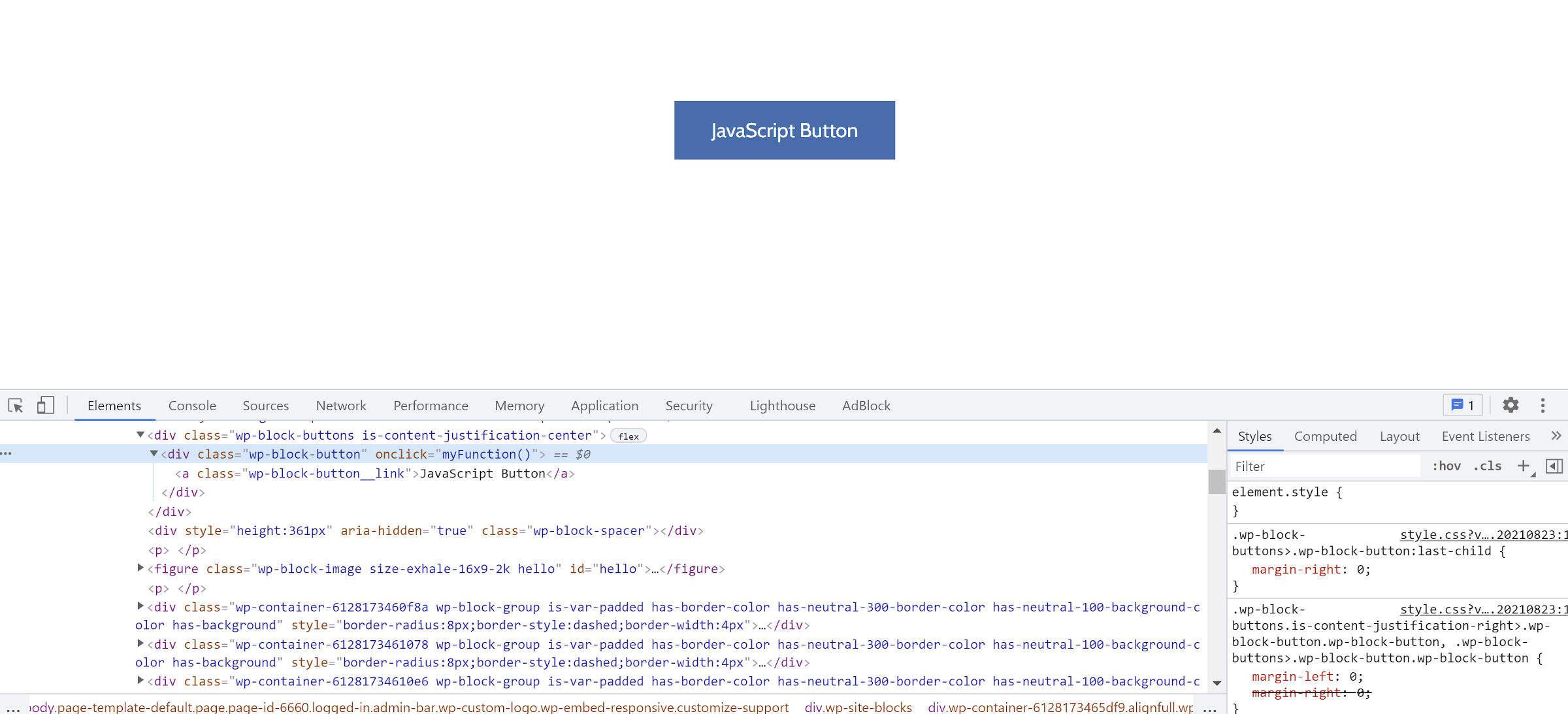 按钮区块的自定义JS