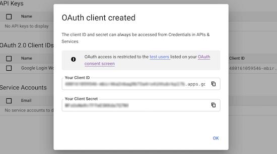 获取谷歌API凭证信息
