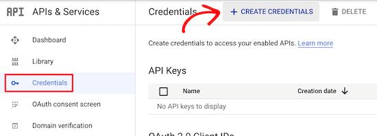 创建谷歌API凭证