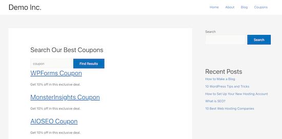 搜索自定义页面示例