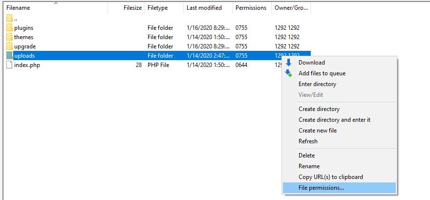 uploads文件夹权限