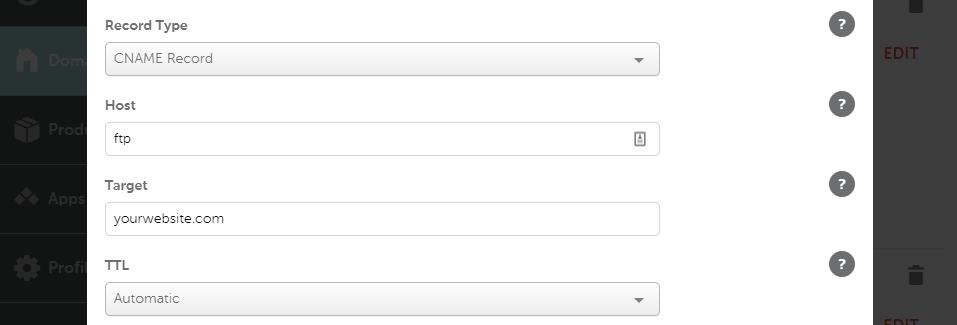 FTP服务CNAME记录