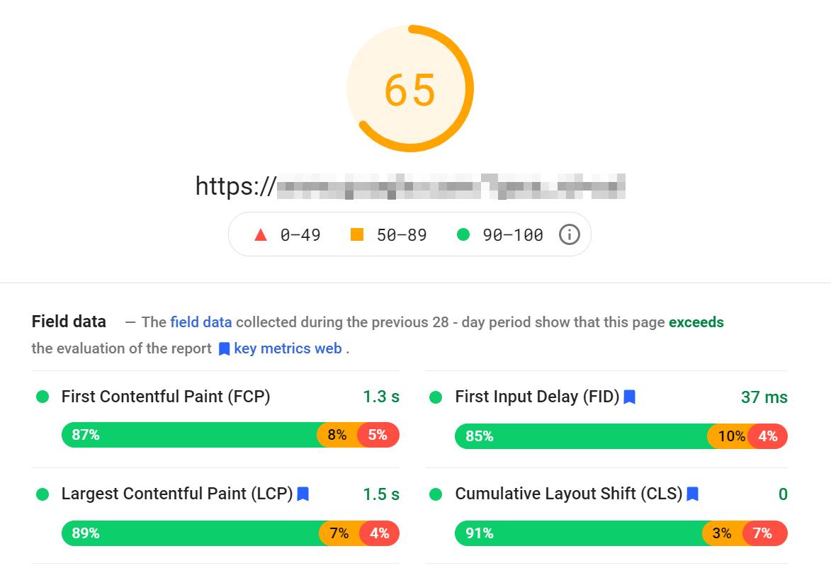 PageSpeed Insights评分