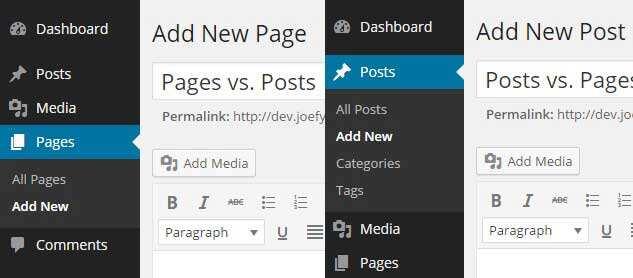 WordPress文章与页面