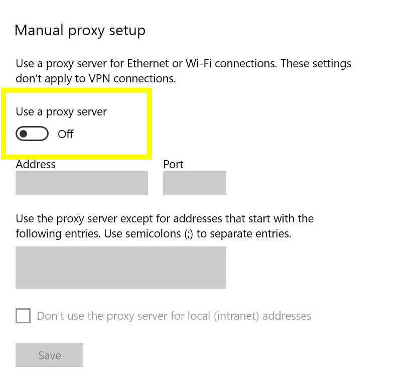 关闭Windows代理服务器