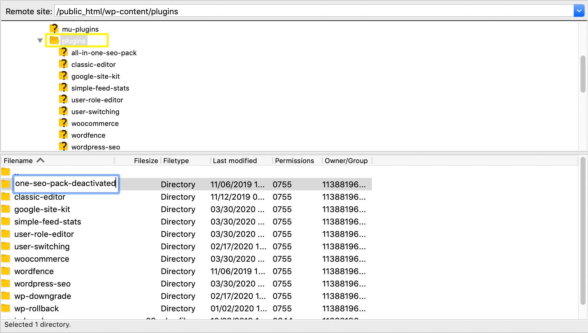 重命名插件文件夹名称